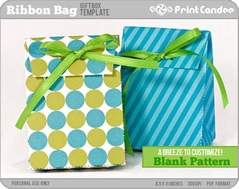 gift box blank template ribbon bag personal use by printcandee