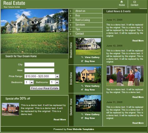 green light estate 10 free estate html web templates web