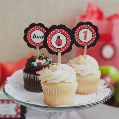 Cupcake Decorations by Ladybug Birthday Decorations Ladybug Cupcake Toppers