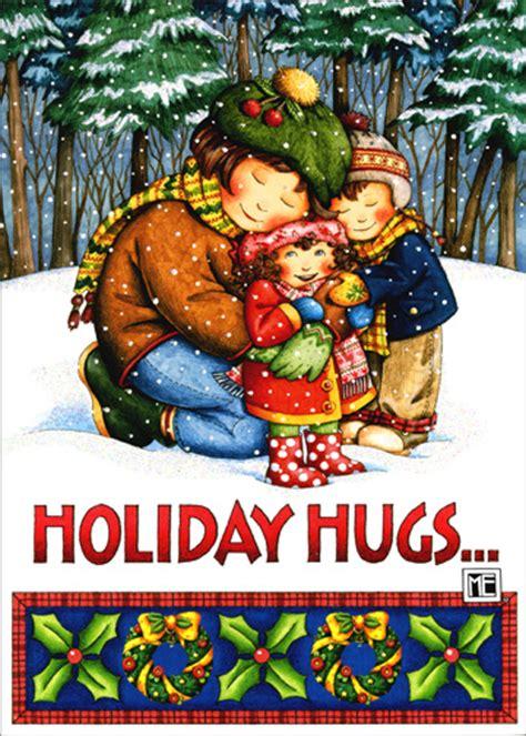 holiday hugs mary engelbreit christmas card  sunrise