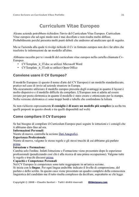 Formato Curriculum Vitae Non Europeo Curriculum Vitae Perfetto