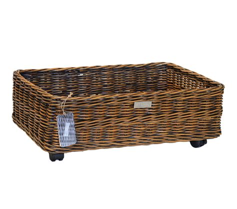 under bed storage baskets oblong rattan core wheeled underbed storage basket
