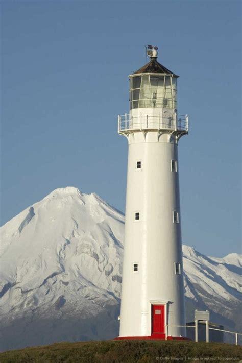cape egmont lighthouse mount taranaki north island new zealand