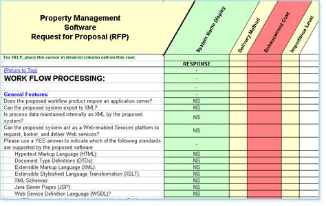 Rfp Template Features And Exles Rfp Template Excel