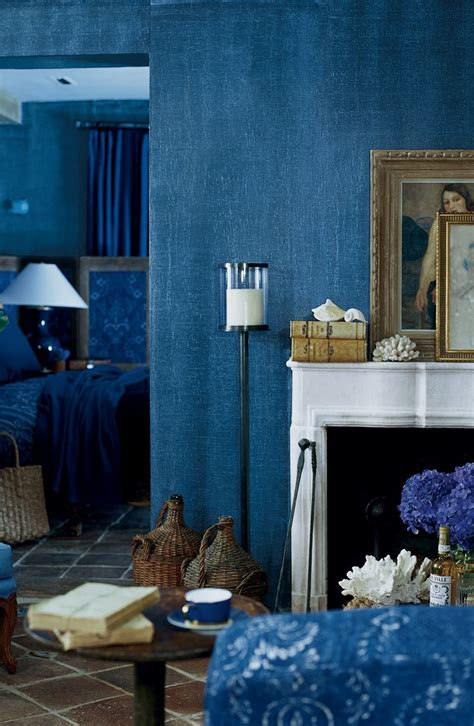 the woven texture of ralph paint s indigo denim faux finish adds a bohemian spirit