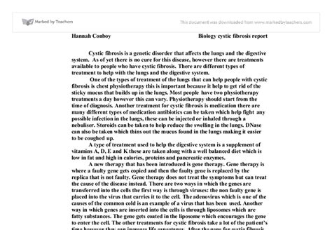Cystic Fibrosis Essay by Cystic Fibrosis A Level Science Marked By Teachers