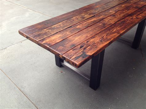 wood and steel desk reclaimed wood and steel dining the coastal craftsman