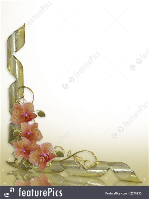 Illustration Of Orchids Wedding Invitation Border