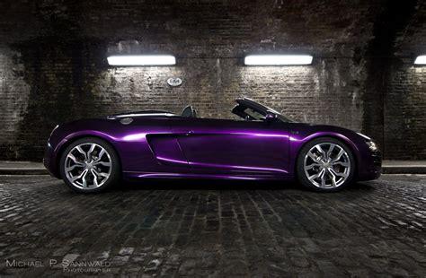 glitter audi audi r8 v10 spyder wrapped in midnight purple color