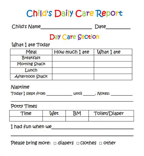 daycare daily report template daily report 7 free pdf doc sle templates
