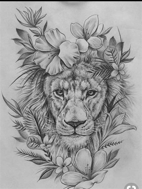 Tattoo uploaded by emma b | King of the jungle lion floral