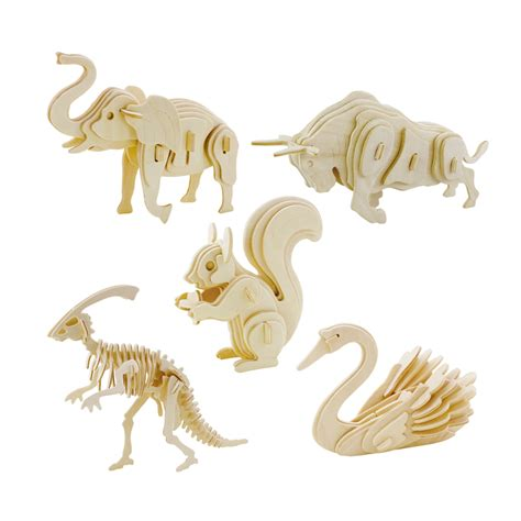 wooden 3d three dimensional animal jigsaw puzzle toys for