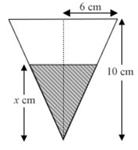 vertical cross section of a cone small increments approximations a familiar looking