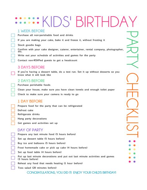 Birthday Party Checklist Sle Free Download Birthday Contract Template