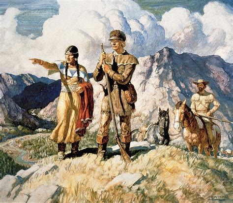 lewis and clark sacagawea with lewis and clark during their expedition of 1804 06 painting by newell