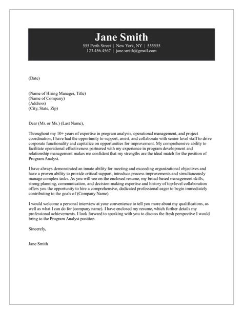 Media Analyst Cover Letter by Program Analyst Cover Letter