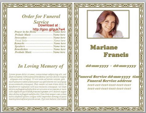 74 Best Funeral Program Templates For Ms Word To Download Images On Pinterest Funeral Ideas Memorial Template Microsoft Word