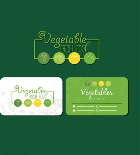 food card template fresh food card template green decor vegetable icons free
