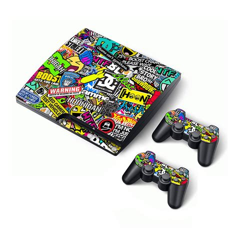 Sticker Playstation sticker bomb skin for sony playstation 3 ps3 slim console skin sticker 2 controller decals for