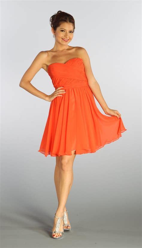 Dresss Orange strapless chiffon orange bridesmaid dress knee length