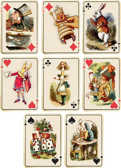 printable art cards vintage inspired alice in wonderland ivory playing cards
