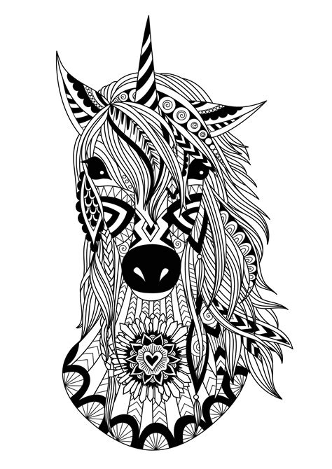 unicorn zentangle simple unicorns adult coloring pages
