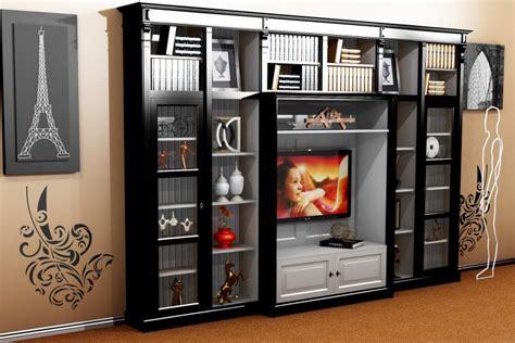 Jugendstil Schrank by Casa Padrino Luxury Living Room Wall Unit Black White B