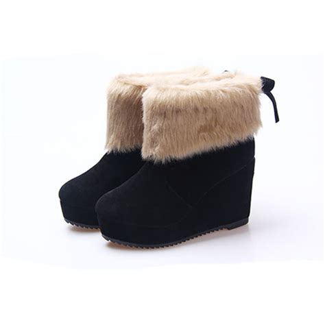 Platform Wedge Snow Boots platform wedge heel butterfly knot ankle snow boots