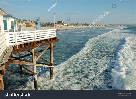 pier cottages prices seaside pier hotel bungalow overlooking pacific san diego california stock photo