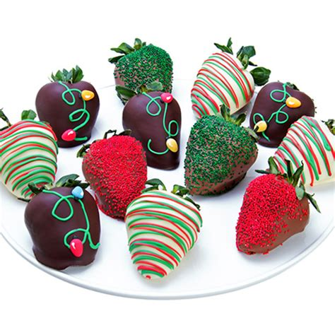 christmas lights chocolate covered strawberries by