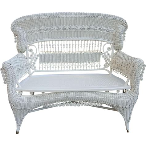 large settee rare large ornate high back victorian wicker settee