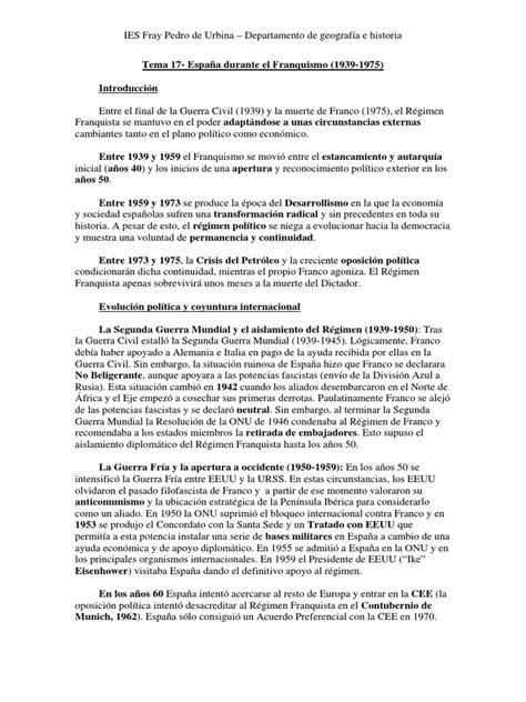 El Franquismo. Historia de España. 2 BACHILLERATO