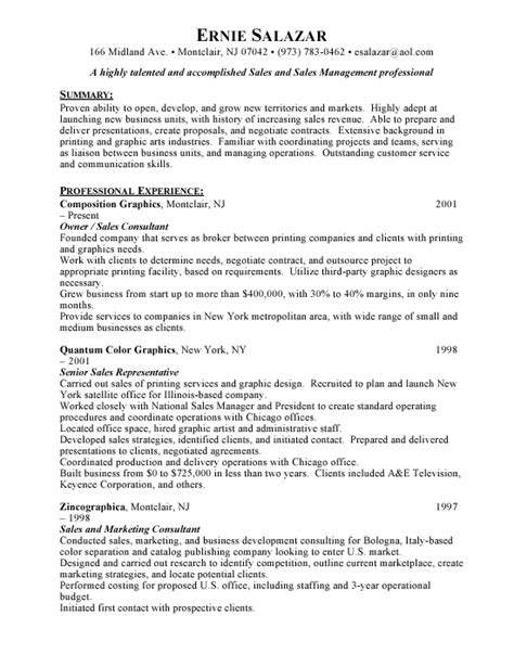 Great Resume Exles by Sle Of A Great Resume 28 Images Sales Manager Resume