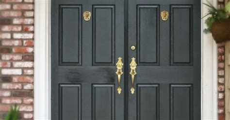 Black Kick Plates For Front Doors Black Front Door With Brass Door Knockers Door Harware And Brass Kick Plates A Front Door