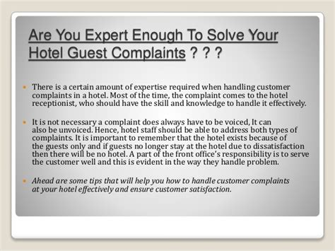Complaint Letter About Hotel Stay How To Handle Guest With Complaints In Hotel