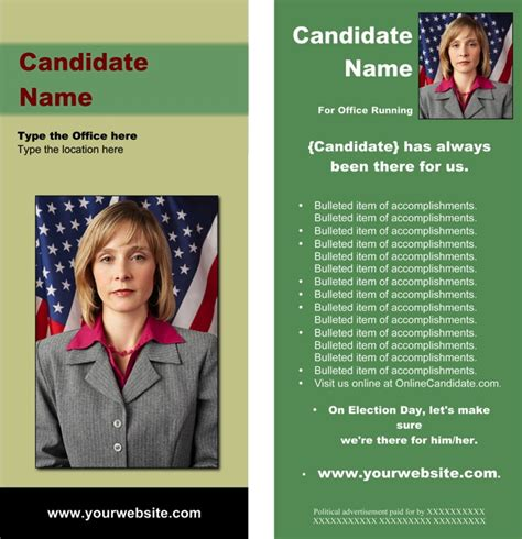 Political Caign Brochure Template political brochure templates green and theme