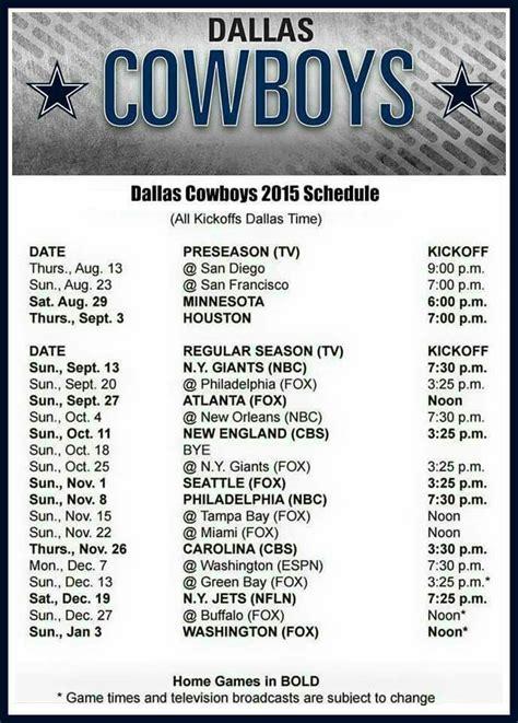 printable schedule for dallas cowboys 38 best images about dallas cowboys san antonio spurs