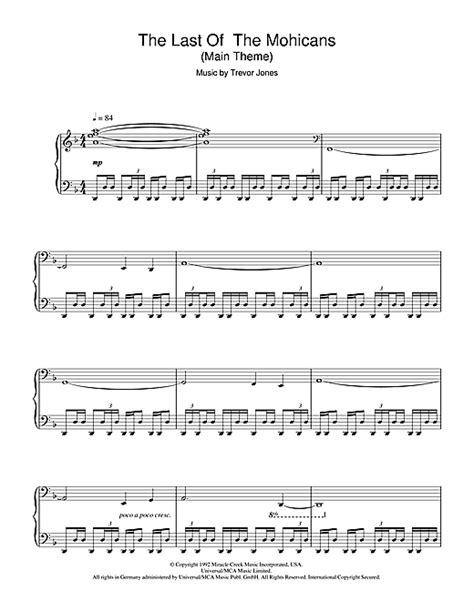 last notes the last of the mohicans theme sheet by