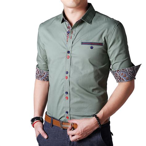 2015 new brand dress shirts find more casual shirts information about 2015 personality button new brand dress slim fit