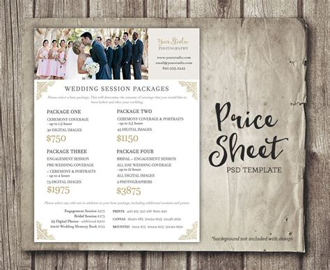 Wedding Photography Price Sheet Price List Template Wedding Pricing Template