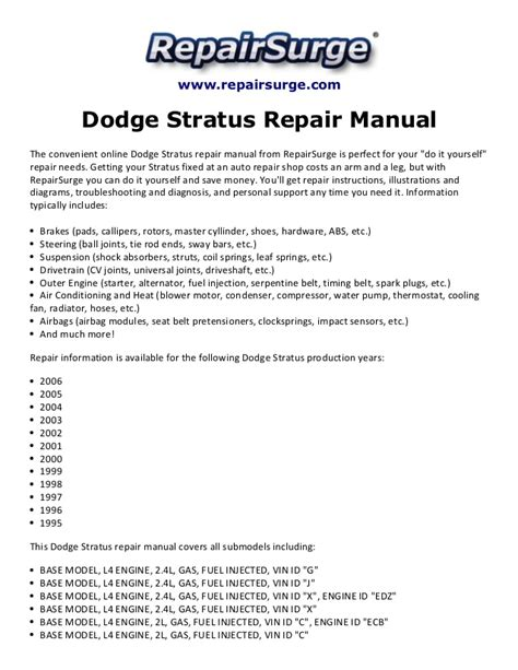 service and repair manuals 2006 dodge stratus spare parts catalogs dodge stratus repair manual 1995 2006