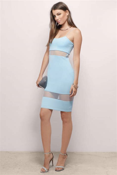 Id 2298 Blue Bodycon Dress light blue bodycon dress mesh inset dress bodycon