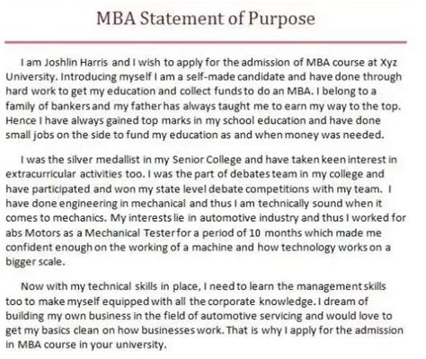 Statement Of Purpose For Mba In Business Management by Where Can I Find Mba Sop Exles Quora