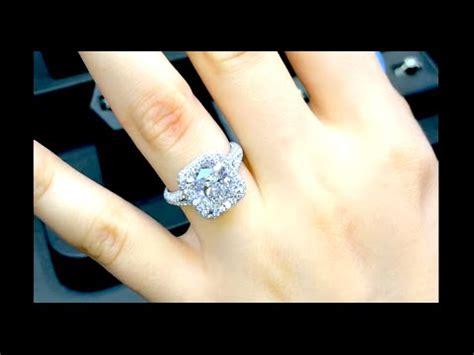 4 carat cushion cut engagement ring in edge