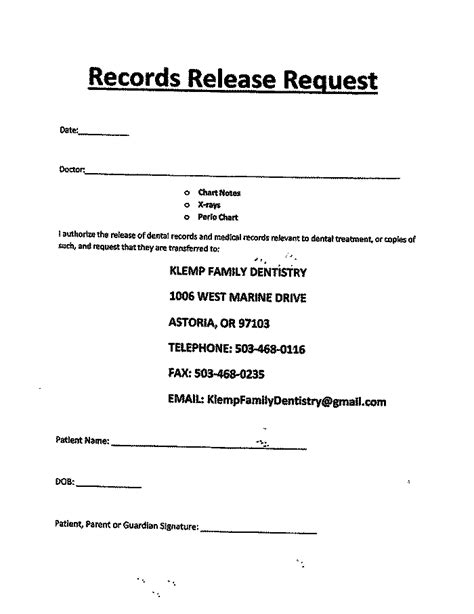 release for records form records release form klemp family dentistry
