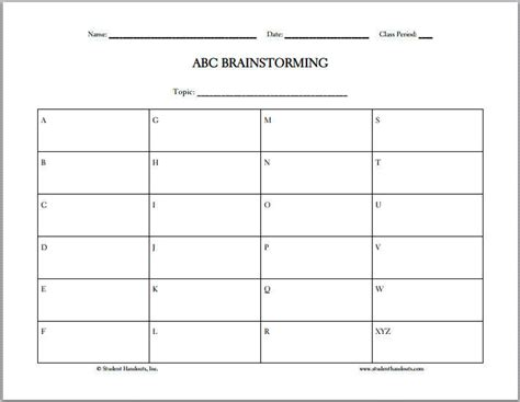 Fill Out Resume Online by Abc Brainstorming Free Printable Worksheet Student