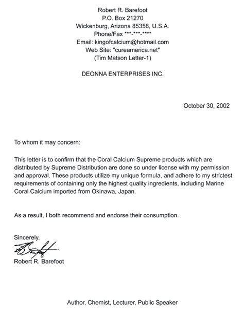authorization letter use trademark coral calcium supreme from bob barefoot