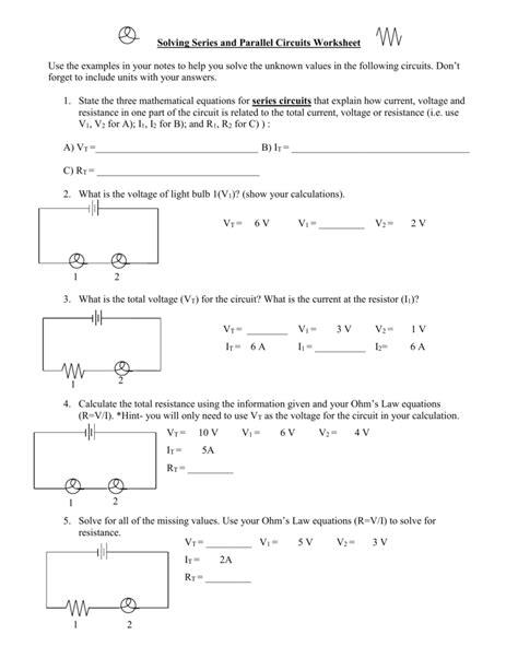 parallel circuits math series parallel circuit worksheet worksheets reviewrevitol free printable worksheets and