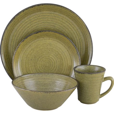 sango comet lime 16 piece dinnerware set