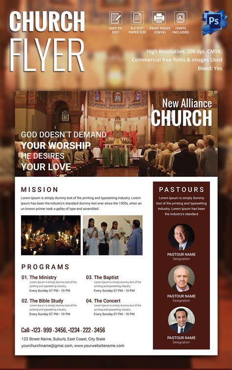 Church Flyers 26 Free Psd Ai Vector Eps Format Download Free Premium Templates Template For Church Flyer
